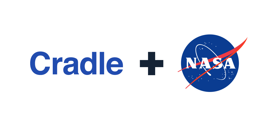 Image of the word Cradle and the NASA logo