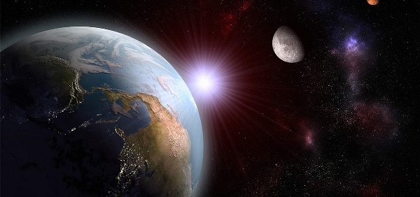 Earth, Moon and Mars